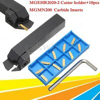 10pcs MGMN200 2mm Carbide Inserts + MGEHR2020-2 CNC Grooving Cut-Off`Tool Holder