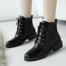 Women's Combat Martin Boots Leather Flats Lace Up Ankle Winter Booties Shoes