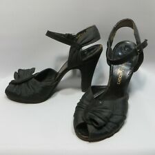 Vtg 1940s Womens Peep Toe Shoes High Heels Black sz 5 M
