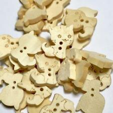 10 pcs 16mm natural kitty cat 2 hole wooden buttons / sewing supplies