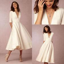 Satin Half Sleeve Tea Length Wedding Dresses White Ivory Bridal Gown Size Custom