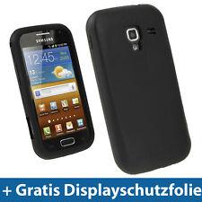 Schwarz Silikon Tasche für Samsung Galaxy Ace 2 I8160 Android Schutz Hülle Etui