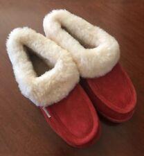 NWOT Womens Size 10 Orange Suede Slippers Rubber Soles Sheepskin Lining