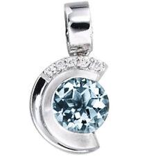 Anhänger echt 585 Gold Weissgold Teilmattiert 5 Diamant-brillanten 1 Aquamarin