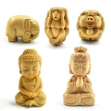 Mini Wooden Buddhism Figurine Miniatures Carved Craft Home Decoration Accessory