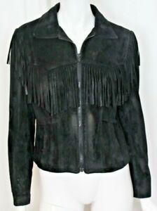Vintage Wilsons Women's Black Suede Leather Jacket Fringe Western Biker Size 12