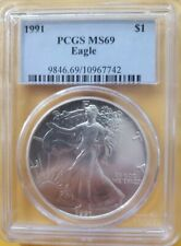 1997 PCGS MINT STATE MS69 AMERICAN SILVER EAGLE BLUE LABEL