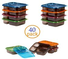 40 Meal Prep Containers 3 Compartments Reusable Plastic Food Storage Diet