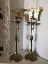 Pair of Antique Korean Choson Etched Brass Butterfly Candle Stands
