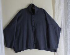 Eskandar 1 0 Fine Gray Variegated Wool Cashmere Double Collar Boxy Blouse Top