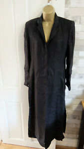MARILYN ANSELM HOBBS● size 10 ● black 100% linen dress coat womens ladies