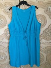 Womens Sz 2x Tunic Cover Up Tie Front Short Sleeveless Cotton Swim Lounge Top
