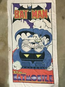 Vintage 80s Batman 1989 The Batmobile Beach Towel / Wall Tapestry 29X55 Inches