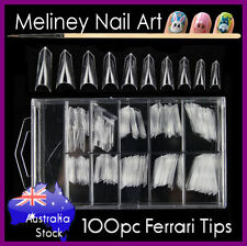 100pc Ferrari Sword Nail Tips French False Fake Acrylic Gel Edge Clear Pointy