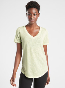 ATHLETA Breezy Scoop V Tee S SMALL Tequila Green   Lightweight Top Shirt NWT