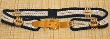 Vintage G. Gagliano Florence Navy Blue & White Rope Belt w/ Gold Metal Buckle