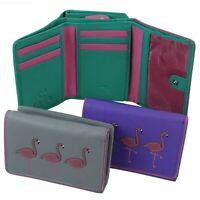 Ladies Leather Tri-Fold Purse/Wallet  with Flamingoes by Mala - Freya Collection