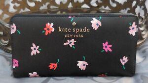 Kate Spade ~Staci DITSY BUDS Floral Large Slim Bifold Wallet ~BLACK~RED~NWT $149
