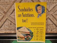 Old Baking Recipe Cookbook 1951 Blue Bonnet Margerine Sandwich Manual Really Fun