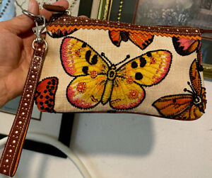 ISABELLA FIORE Jeweled Beaded  BUTTERFLIES  Colorful Wristlet Clutch Purse Small