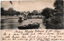 Twickenham, View from River Thames towards Church, u/b b+w postcard, posted 1904
