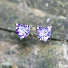 Heart Amethyst Stud Earrings Sterling Silver 925 , February Birthstone