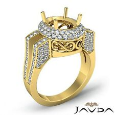 Semi Mount 1.1 Carat Diamond Engagement 2 Row Halo Ring 14k Yellow Gold Oval Cut