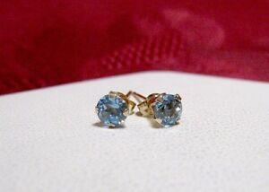 10K YELLOW GOLD ROUND SHAPE BLUE TOPAZ SMALL PRETTY STUDS EARRINGS 0.32 GRAM