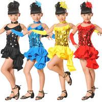 Toddler Kids Girls Latin Ballet Dress Party Dancewear Ballroom Dance Costumes UK