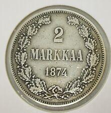 Finland Russia 2 Markkaa 1874 Silver Coin
