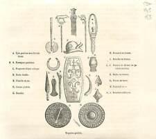 Trophée Gaulois épée celtique brassard bracelet en bronze Poignard GRAVURE 1883