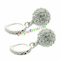 Women White Gold Filled Crystal Rhinestone Hoop Earrings Wedding Jewelry New