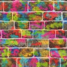 BRICK WALL GRAFFITI WALLPAPER - RASCH 291407 NEON SPRAY PAINT