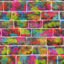 MURO di mattoni GRAFFITI CARTA DA PARATI-RASCH 291407 Neon Vernice Spray