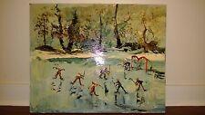 "Morris Katz Original Oil Painting 24"" x 30"" Signed 1982 ""LAKE HOCKEY GAME?"""