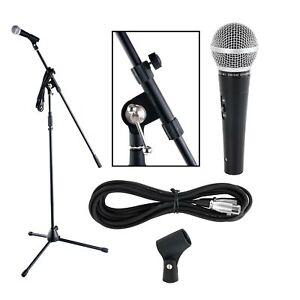 Professionnel Set Microphone Dynamique à Main Karaoké Mic Noir Support Câble