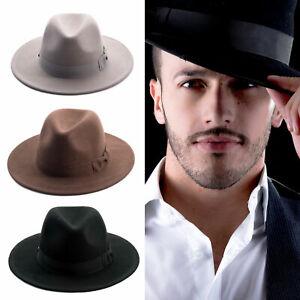 Fedora Wool Felt Wide Brim Hats with Bow Trim (3 Colors)-91