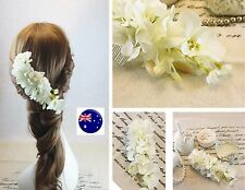 Women Wedding white Flower Races Prom Dance Party Hair Comb headpiece accessory