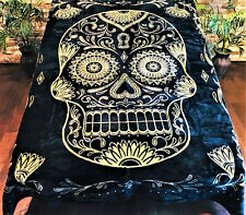 * Large * 76x96 SUGAR SKULL BLACK Queen BLANKET : GOLD FAUX FUR PLUSH SOFT THROW