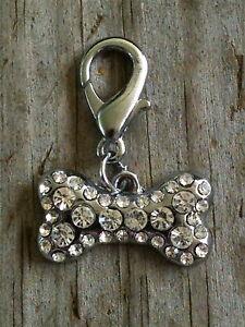 Clear Sparkling Crystal Bone Dog Collar Charm / Zipper pull