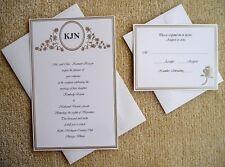 100 Personalized Custom Monogram Wilton Ivory Gold Bridal Wedding Invitations