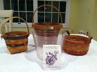 Lot of 3 New Longaberger Baskets. Retired 1992, 1996 and 1997.