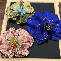 1PC Big Blue Sequins Flower Sew on Patch for Clothing Applique