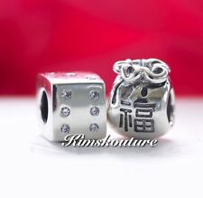 Pandora Gift Set 2 Charms Lucky Dice 790116,Chinese Money Bag Hong Bao 790990