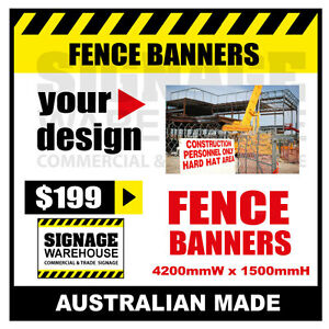 Custom Outdoor Fence Mesh Banner Sign Wrap - 4200mmW x 1500mmH Signage Warehouse