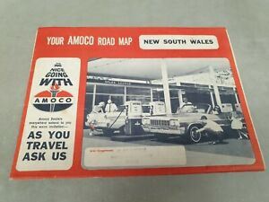 1960s  AMOCO Oil Co. ROAD MAP of NEW SOUTH WALES   Australia CHEVROLET Cover