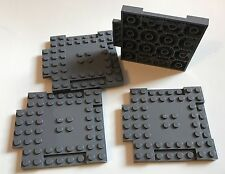 4 x lego MODIFIED PLATE 8 X 8 FROM BATMAN SET 10672 10724 DARK BLUISH GRAY