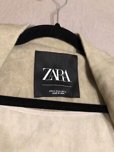 NICE! Womens Medium ZARA Duster Linen Blend Beige/Green Long Jacket EUC!!!