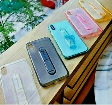 Clear Finger Strap Silicone Gel Case Cover for Apple iPhone 7 8 Plus XS Max +SP