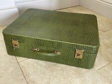 Vintage Pukka Green Luggage Suitcase Series 44 Faux Crocodile Key Fab Condition